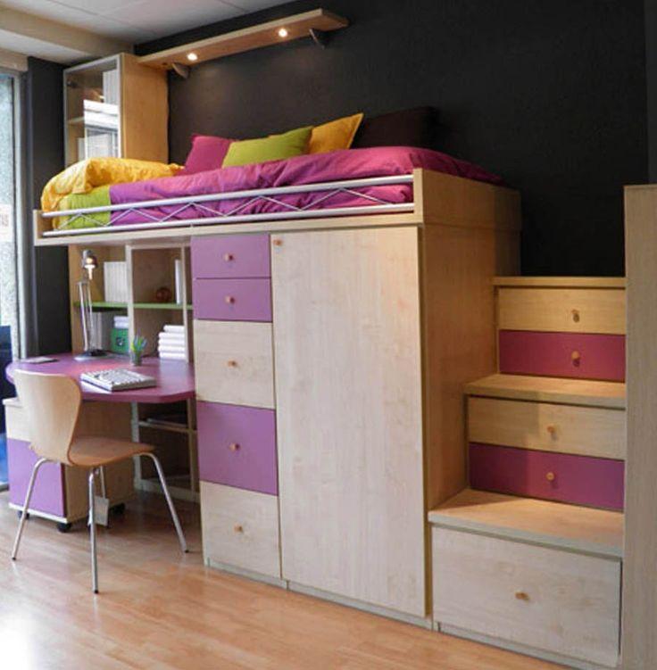 R245 - Juvenil compacto de cama alta con biblioteca, mesa de estudio, pequeño armario y cajonera debajo - Facil Mobel, fábrica de muebles a medida en barcelona, catálogo de armarios, juveniles, salones, dormitorios matrimoniales y complementos. Ofertas y solicitud de presupuestos.