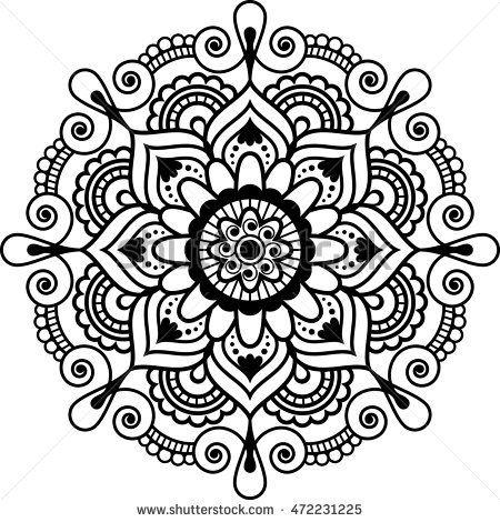 Mehndi Indian floral henna element mandala for tatoo or card. illustration isolated on white background