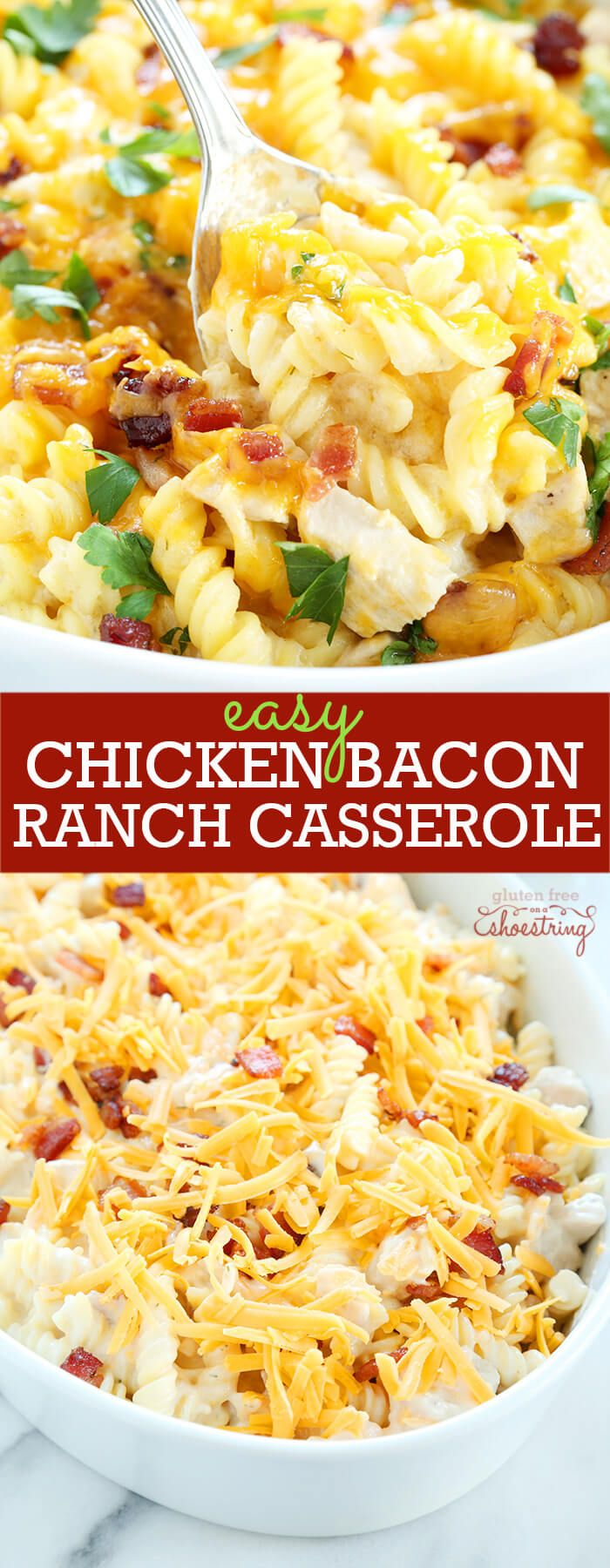 With an easy ranch cream sauce, bacon and all the right spices. This gluten free chicken bacon ranch casserole is the perfect comfort food.