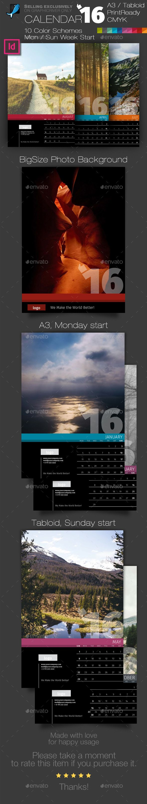 Wall 12 Pages Calendar 2016 with Big Size Photo Background — A3 and Tabloid. Download here: https://graphicriver.net/item/wall-12-pages-calendar-2016-with-big-size-photo-background-a3-and-tabloid/14147183?ref=ksioks