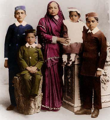 Kasturba Gandhi and her children.