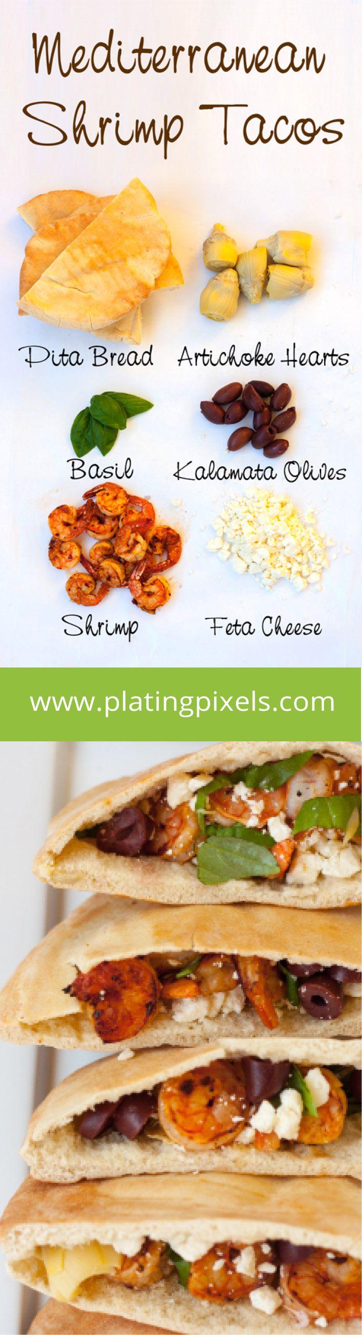 Mediterranean Shrimp Tacos by Plating Pixels. Shrimp tacos with a Mediterranean flair; made with pita bread, artichoke hearts, kalamata olives and feta cheese. - www.platingpixels.com