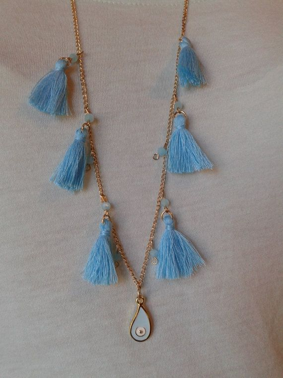 chain necklace with light blue pompon beads and by toocharmy