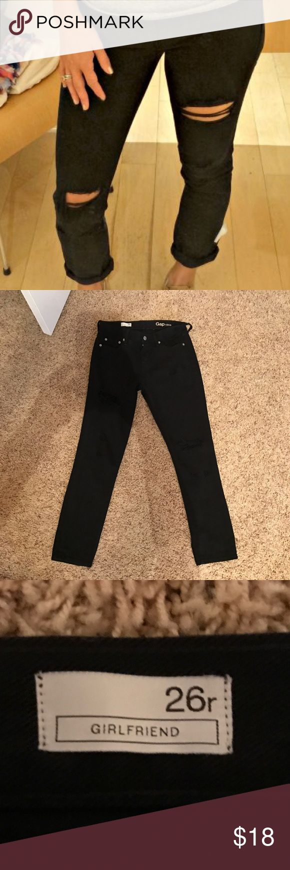 Gap Black Girlfriend Jeans Only worn once, Gap Girlfriend fit jeans with a little distressing, size 26! perfect for so many outfits! GAP Jeans Boyfriend