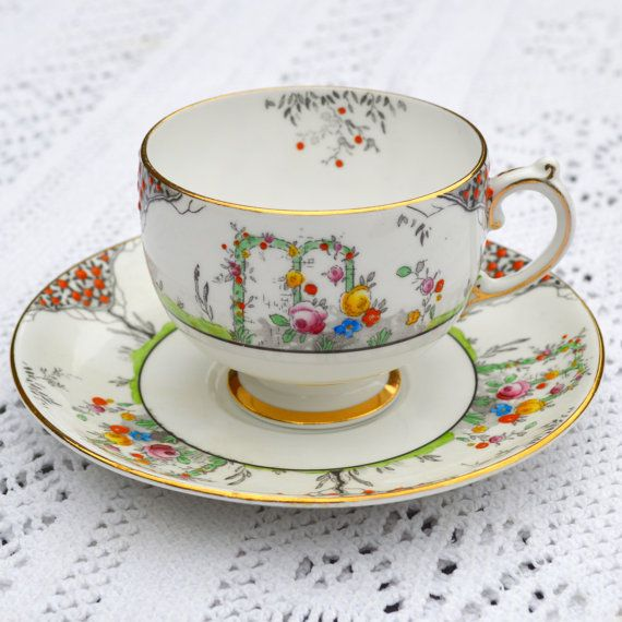 1920-30s Teacup and Saucer Duo Grosvenor Bone China by Wicksteads