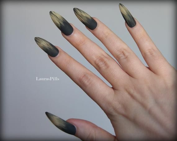 Nail Care, Manicure & Pedicure Fake Nails Kit Stiletto Pointed Almond Matte Black And Gold X 16 Nails Good Heat Preservation Artificial Nail Tips