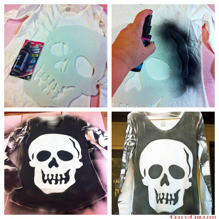 DIY Dollar Store Skull Shirt