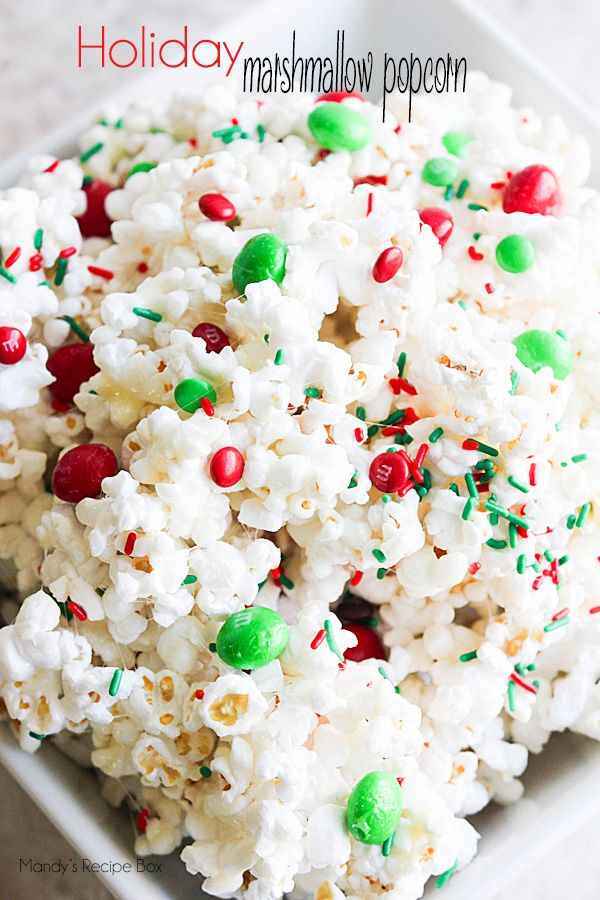 Holiday Marshmallow Popcorn Recipe - This makes for a great treat or gift for the holidays. Put it in some cute containers and hand them out to your neighbors and friends!