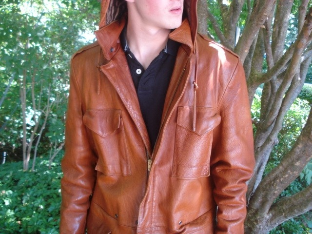 Vintage Mens Leather Jacket With Hood