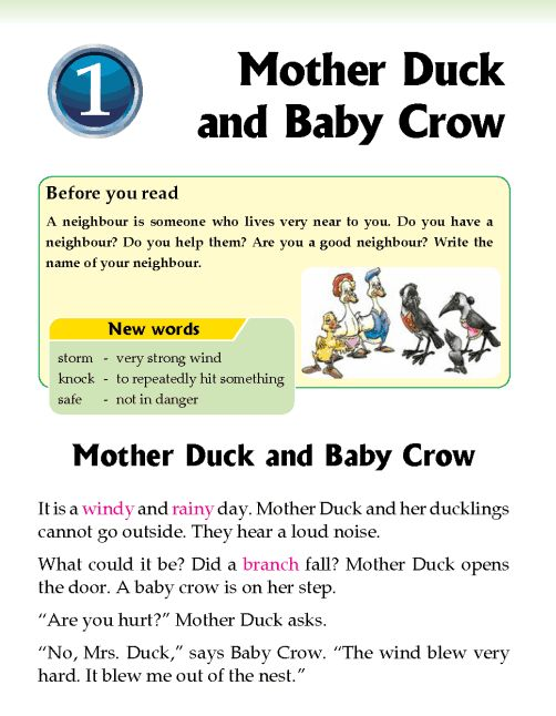 Literature Grade 2 Fables and folktales Mother Duck and Baby Crow http://literature.wordzila.com/literature-grade-2-fables-folktales-mother-duck-baby-crow/
