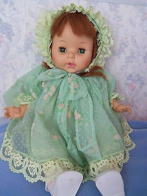 1967 Horsman Darling Vintage Baby Doll Red Hair Green Eyes Flocked Outfit 18 | #494476944
