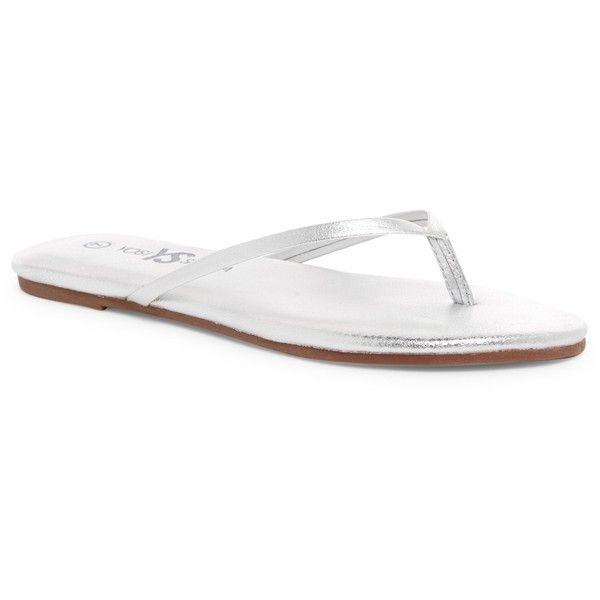 Yosi Samra Metallic Flip-Flop ($20) ❤ liked on Polyvore featuring shoes, sandals, flip flops, silver, yosi samra flip flops, leather shoes, metallic sandals, slip on shoes and leather slip-on shoes