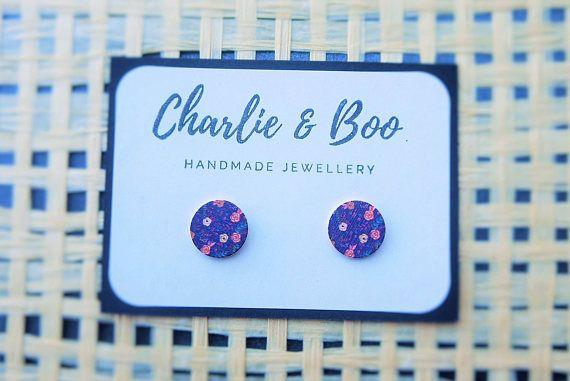 Stainless Steel 12mm Printed Wood Stud Earrings Floral VintageStud Earrings Australian Handmade Small Business Charlie and Boo