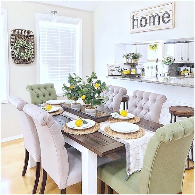 Love This Gorgeous Dining Room Set With Colorful Lemons And A Fresh As Summer Lemon Tree Centerpie Dining Room Inspiration Dining Room Design Dining Room Decor