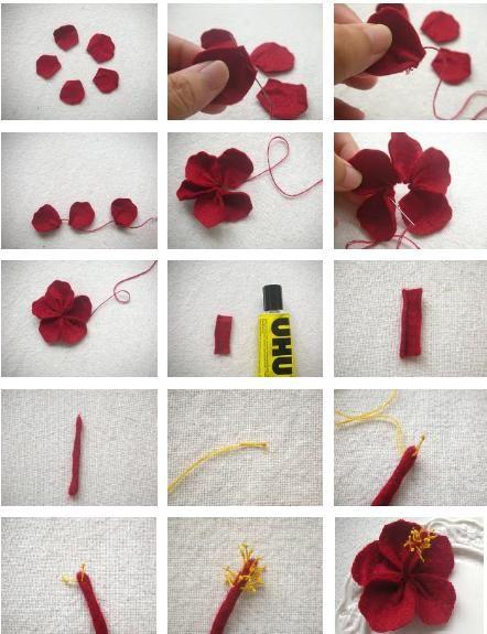 Olá Meninas!!  Aqui vai mais um tutorial de como confeccionar lindas Flores de Hibiscos.  Basta seguir o passo-a-passo aqui abaixo:        ...