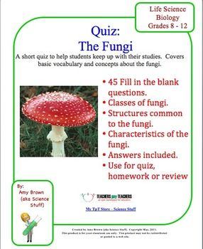 fungi quiz worksheet review the fungi fungi worksheets. Black Bedroom Furniture Sets. Home Design Ideas