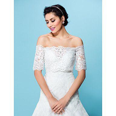casamento+envolve+casacos+/+jaquetas+à+noite+tule+branco+/+bege+encolher+de+ombros+bolero+–+BRL+R$+228,56