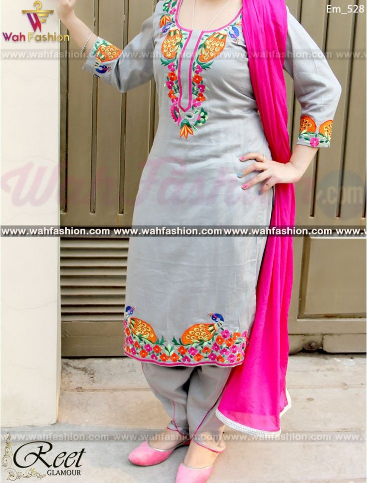 Resplendent Gray Embroidered Punjabi Suit