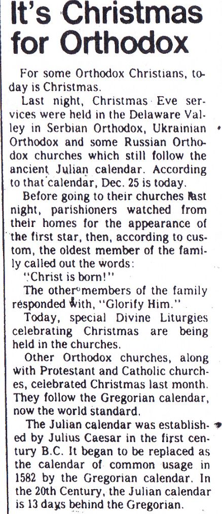 Orthodox Christmas.  From The Bulletin (Philadelphia, Pa.); Wednesday, January 7th, 1981, Section E Page 7.