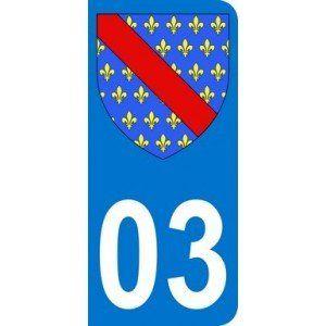 Autocollant 03 avec blason Allier (Bourbonnais) plaque immatriculation Auto (9,8 x 4,5 cm) Mon Blason http://www.amazon.fr/dp/B00BCXZN9W/ref=cm_sw_r_pi_dp_hHzdub1G39S1S