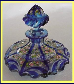 Antique French Blue Cut Glass Perfume Bottle by cristina