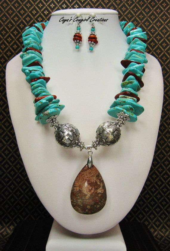 Cowgirl Western Necklace Set / Statement by CayaCowgirlCreations