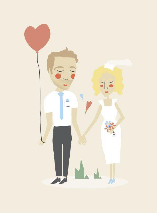Lovebirds - Illustration for Wedding Invitation
