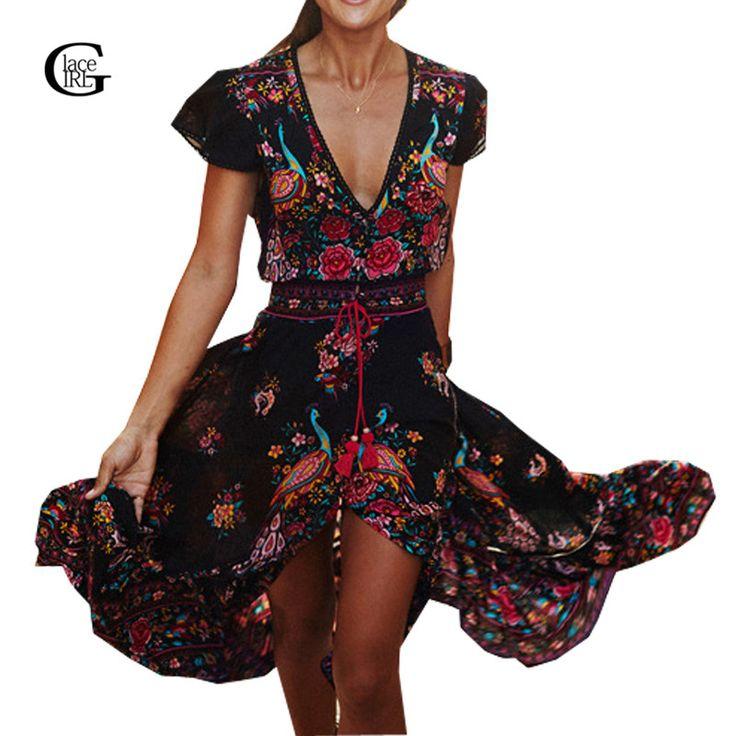 Cheap dresses retro, Buy Quality maxi dress directly from China beach dress Suppliers: Lacegirl 2017 Vestido Long Flower Dress Retro Bohemian Maxi Dress Sexy Ethnic V-neck Floral Print Beach Dresses Boho Hippie Robe