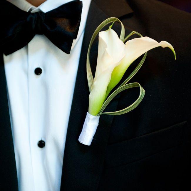 Calla Lily Boutonniere // Robin Nathan Photography // Boutonniere: Andy Beach & Co. // http://www.theknot.com/weddings/album/a-modern-elegance-wedding-in-atlanta-ga-133454