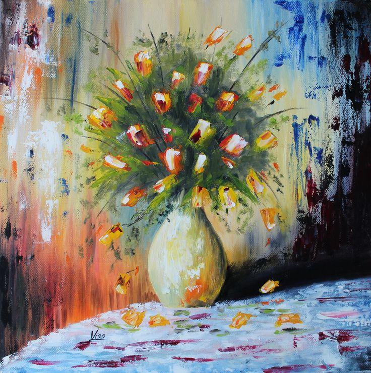Sárga rózsák. olaj, vászon, 40x40 spatula Yellow roses, oil on canvas, spatula