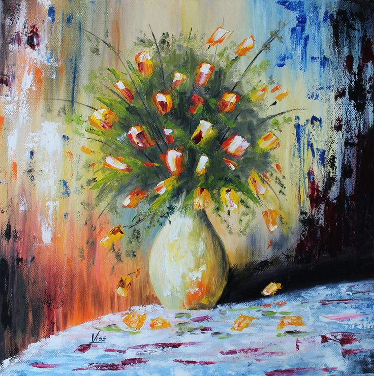Sárga rózsák. olaj, vászon, 40x40 spatula Yellow roses, oil on canvas, spatula