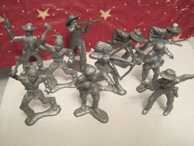 TIM MEE IDEAL MARX LIDO PLAYSET PIONEER INDIAN COWBOY SILVER PLASTIC TOY SOLDIER #TIMMEEIDEALLIDO