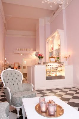 This is the showroom for a gorgeous cake shop in Sweden called 'Holy Sweet' lavish pastry design. Very inspirayional.  -chair -lighting -colors