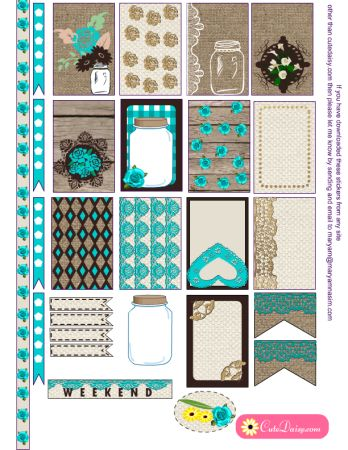 FREE Printable Rustic Stickers for Happy Planner and Erin Condren Life Planner by Cutedaisy
