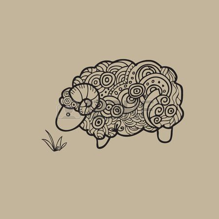 Sheep doodle pattern cartoon vector