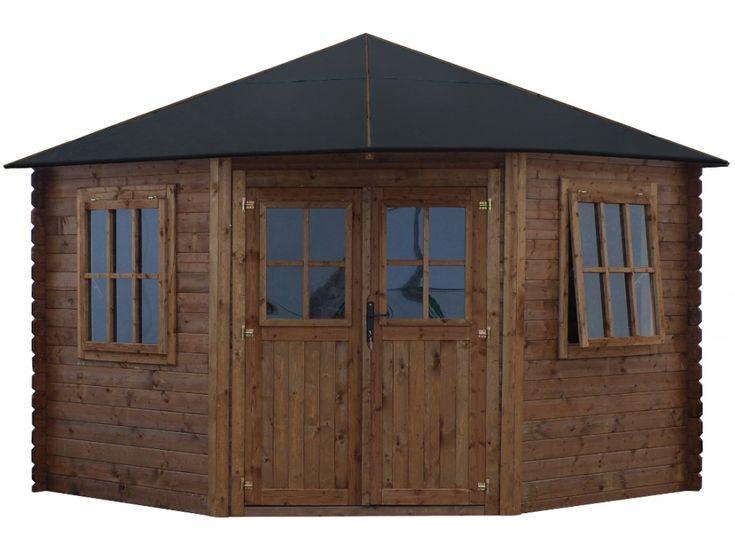 Abri de jardin KOYOMA pas cher en bois traité classe III brun -surface 9m² - épaisseur 28mm - toit en feutre bitumé prix promo Abri de jardin Vente Unique 1 299,99 € TTC au lieu de 2 400 €
