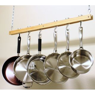 @Overstock.com - Cooks Standard Single Bar 36-inch Ceiling Mount Wooden Pot Rack - The Ceiling Mount Wooden Pot Rack offers an aluminum and natural wood construction and a 36-inch length.  $44.99