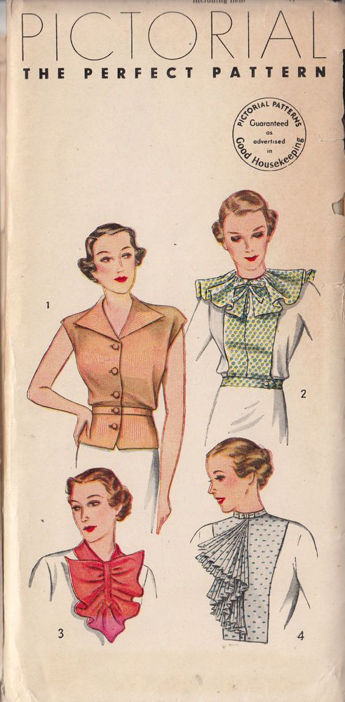 Pictorial 8230 | 1930s Blouse Dickey Collars & Jabot