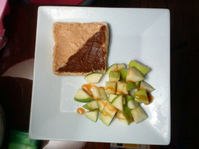 Frozen apple bites with caramel sauce and a half topped whole wheat bread