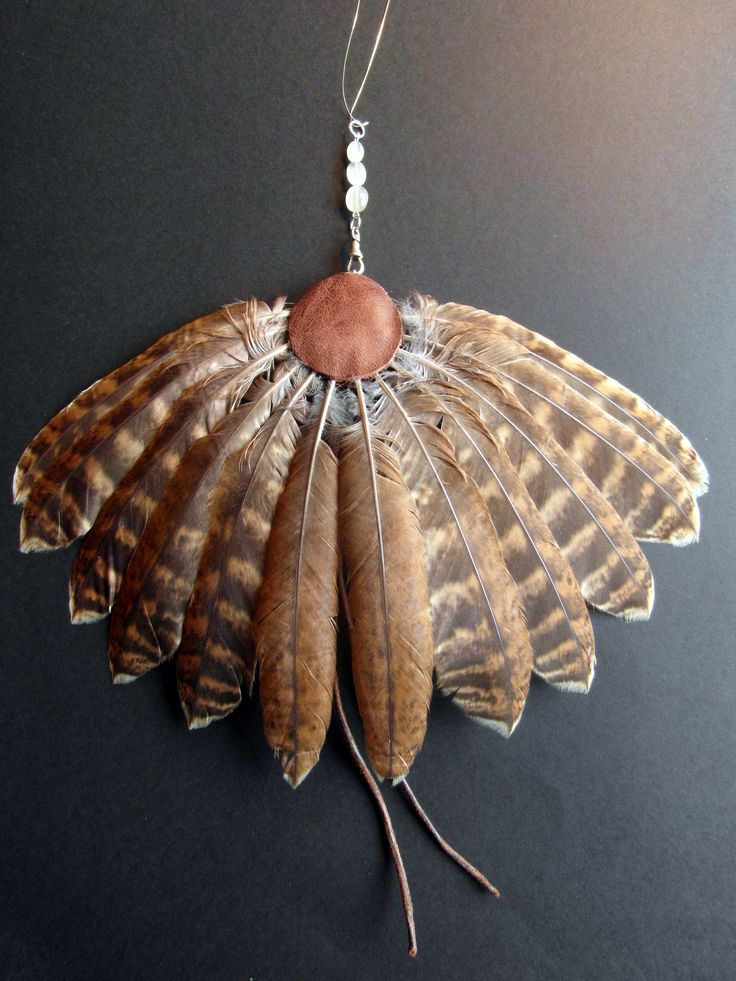 Tawny Owl tail fan,leather, silver and moonstone beads ...