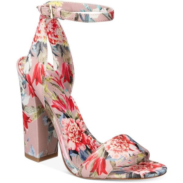 Aldo Women's Miyaa Two-Piece Block-Heel Sandals ($80) ❤ liked on Polyvore featuring shoes, sandals, floral, strappy sandals, floral print sandals, strap sandals, strap heel sandals and block-heel sandals