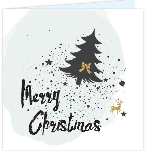 Hippe kerstkaart met stoere handlettering. zwart en goud gekleurd en verf spetters. Geheel naar eigen invulling aan te passen.
