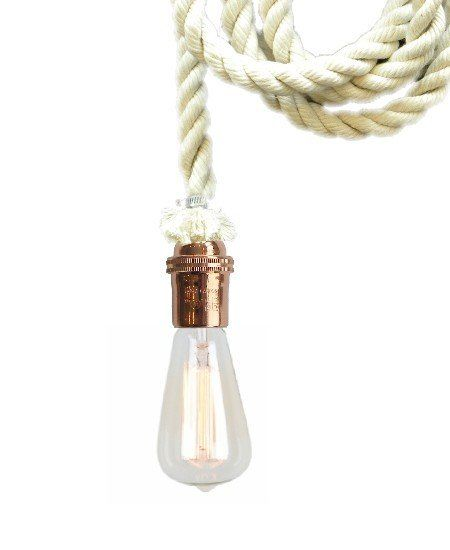 Cotton Rope Pendant light Custom Made in any Lengths Hardwired OR Plug-In Choice of Hardware Color Please see photos for all available options