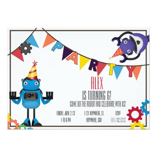 169 best robot birthday party invitations images on pinterest robot birthday invitations robot birthday party invitation filmwisefo Gallery
