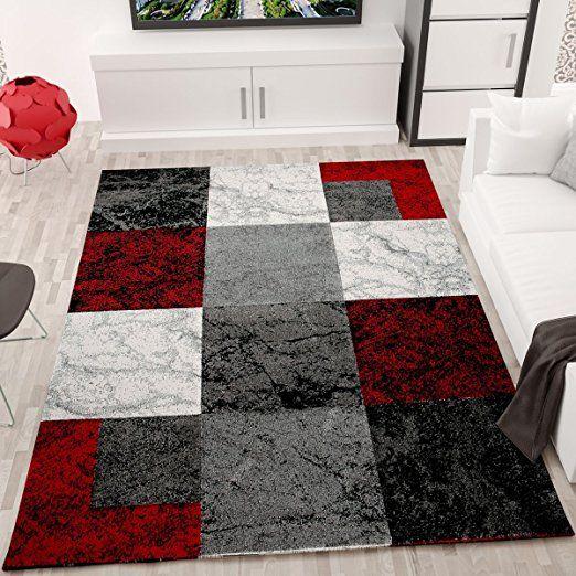 Wohnzimmer Teppich Modern Schwarz Rot Grau Marmor Stein Optik Velours