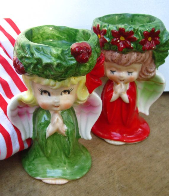 Vintage Lefton Christmas Angel Candle Holders Christmas