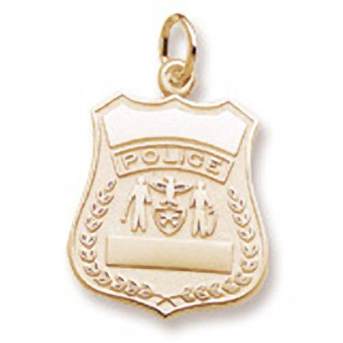 Police Badge Charm In 14k Yellow Gold, Charms for Bracelets and Necklaces * Visit the image link more details.