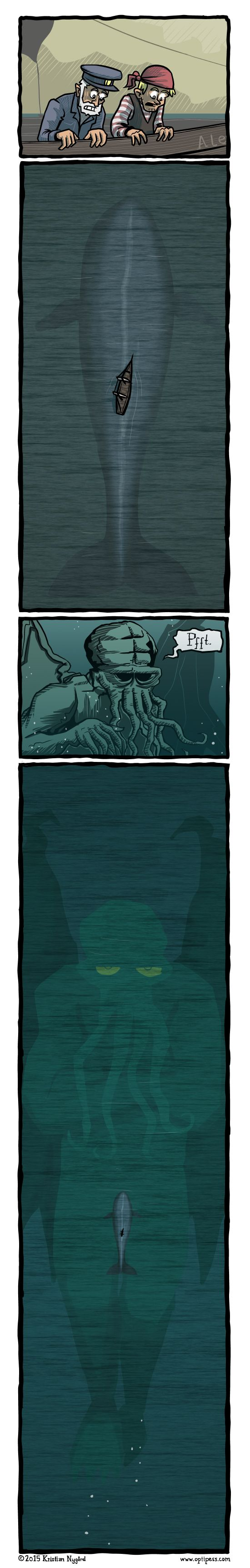 The seamen instantly went insane just as soon as they saw Cthulhu's massive, impressive… eyes.