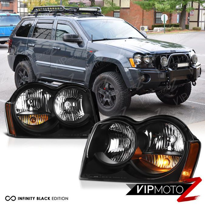 2005-2007 Jeep Grand Cherokee WK Limited Laredo Black Front Headlight Assembly #VIPMOTOZ