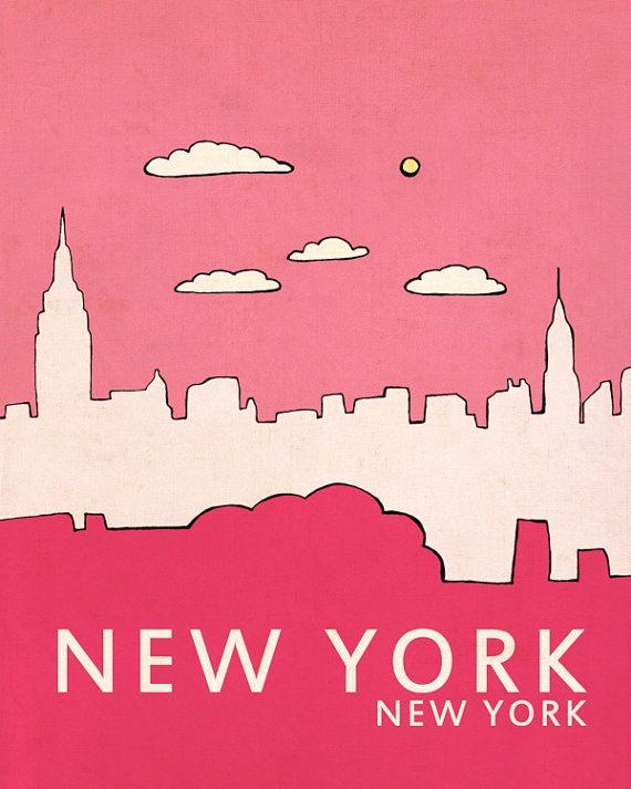 New York // Typographic Print Art Poster Print City par LisaBarbero